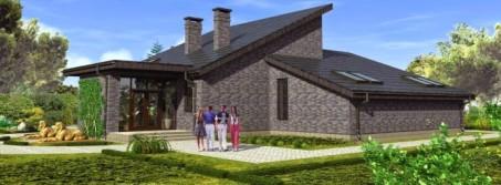 Проект П-образного дома с односкатной крышей