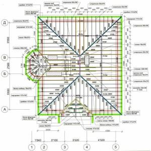 чертеж шатровой крыши