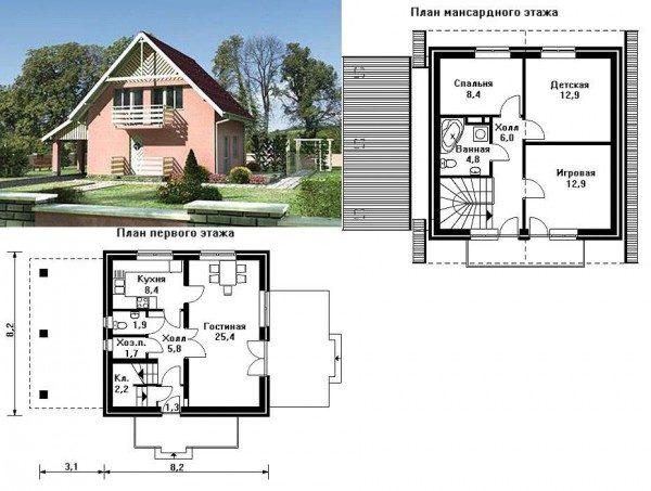 дома из блоков с мансардой проекты фото 8х8