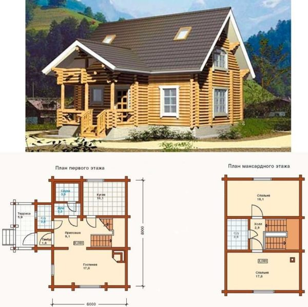 фото проекта деревянного дома с мансардой
